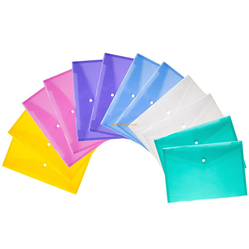 Large quantity promotional different colour A4 size pp plastic document custom sterile storage file bags with logo
