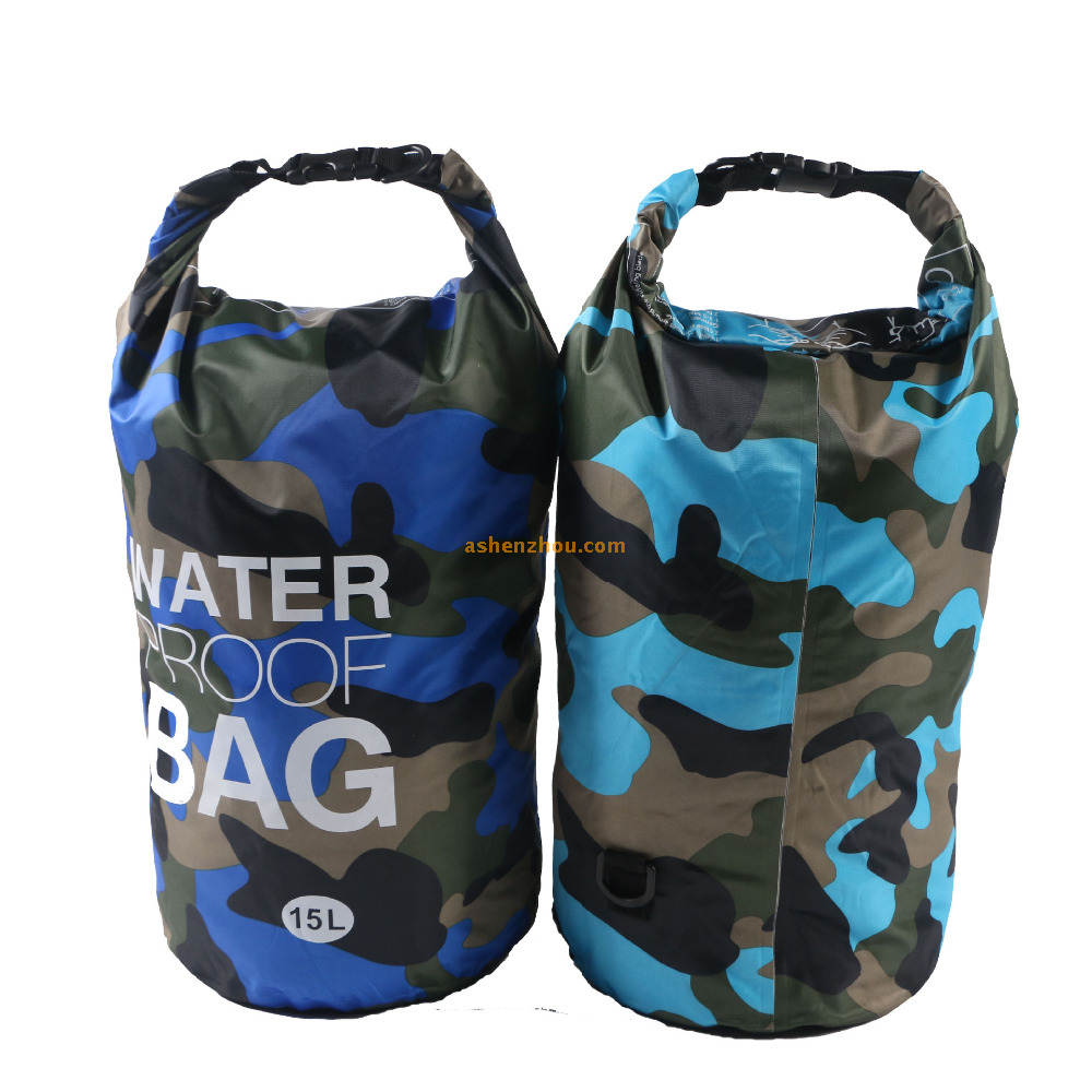 500D Tarpaulin TPU outdoor PVC waterproof camo dry bag with shoulder straps for outdoor camping, diving, surfing or swimming