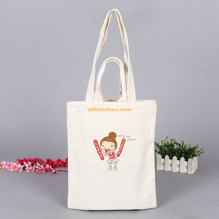 Promotional natural economy custom personalized printed lady women girl cotton canvas shoulder bag wholesale