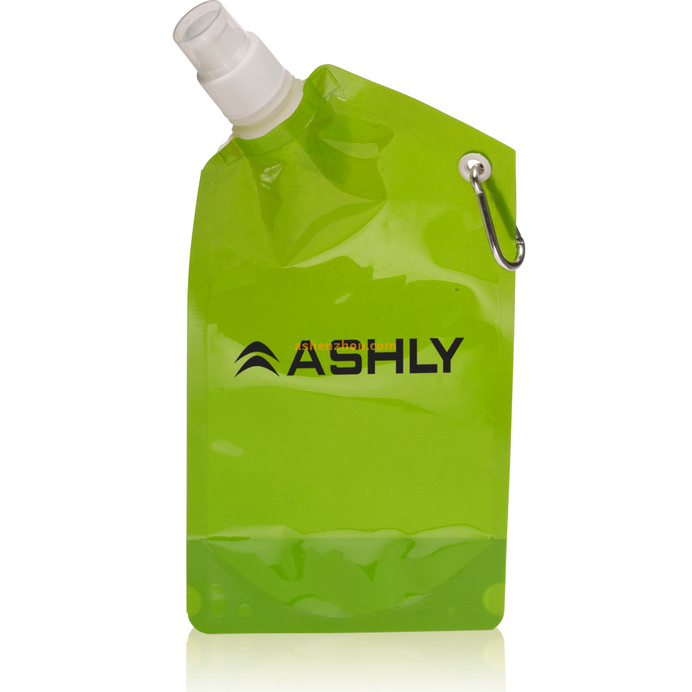 Foldable drink pouch with nozzle, stand up customized drink pouch with hook, drink bottles disposable, foldable water bag
