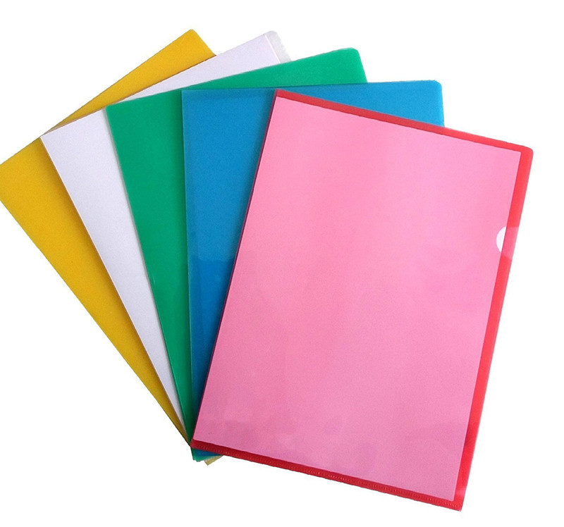 Factory price good quality custom creative design stationery gifts A4 colorful pp plastic L shape folder for kids