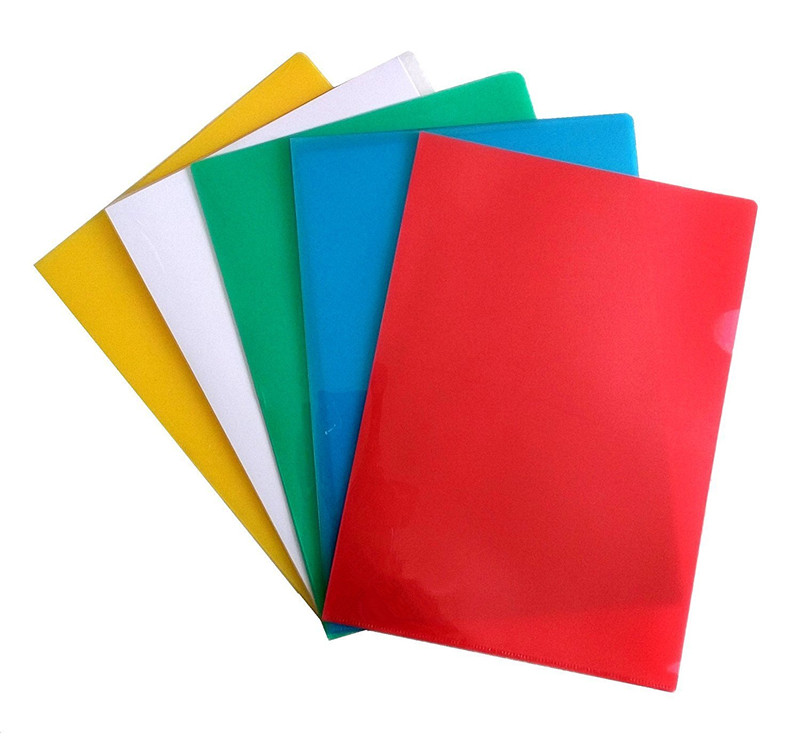 Made in China strong quality custom design office and school using A3 A4 A5 size plastic stationery L shape file folder