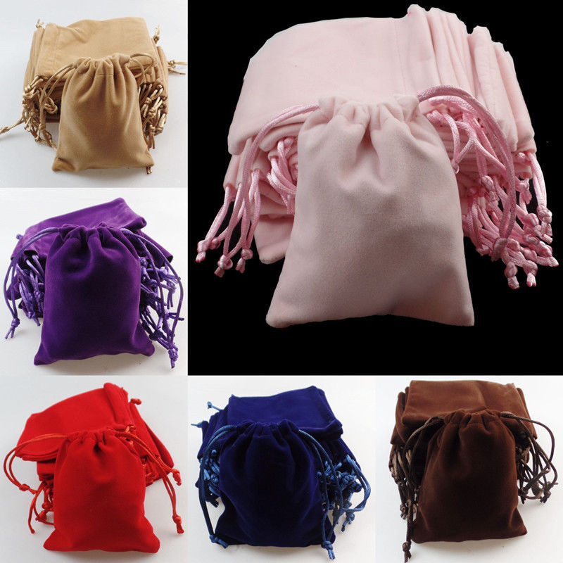Wholesale best quality stylish custom printed logo small gift velvet handbags with silk drawstring pouches