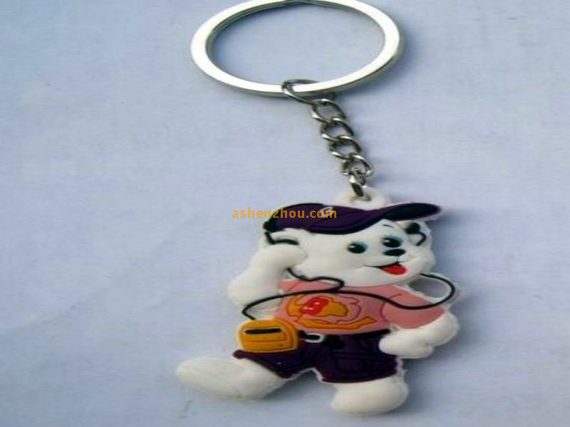 Wholesale promotional high quality branded latest stylish keychains with metal keyring