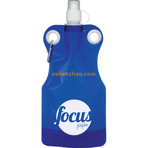 BPA Free stand-up plastic foldable water bottle drinking bag with hook and gravure printing, custom bottle bag, foldable water bag