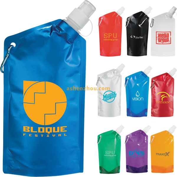 Stand up folding water bottle bag with spout, outdoor folding water bag, BPA Free foldable drinking bottle
