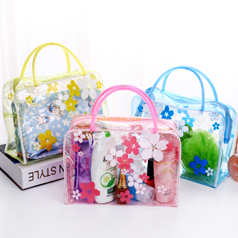 Promotional wholesale eco friendly custom cute cartoon flower style transparent clear personality PVC durable tote bags with zipper
