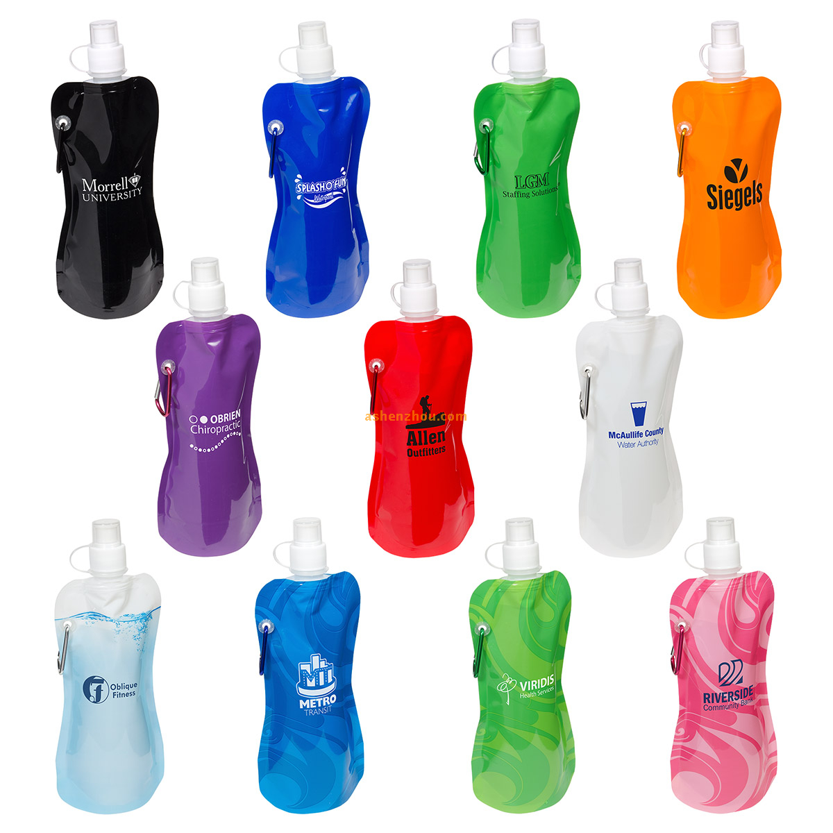 Sport foldable plastic drinking water bottle, easy carry collapsible water bottle, plastic bottle bag