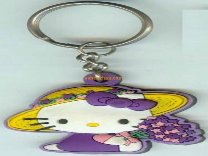 Promotional 3D customizable Soft PVC engraved girly keychains with Key Ring for mini purse or bike