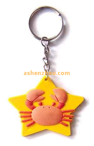Oem custom high quality soft silicone key rings with cartoon picture keychain finder