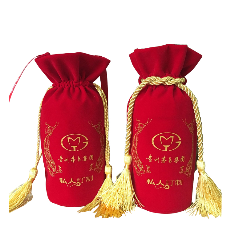 Custom logo gold printed Gift Velvet Cotton Pouch for Jewellery Packaging bag with tassels drawstring bag pouchand foil logo velvet bags.