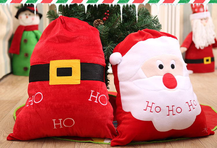 High Quality Linen Large Doll Cartoon christmas bags for gift drawstring christmas gift bags for christmas decoration