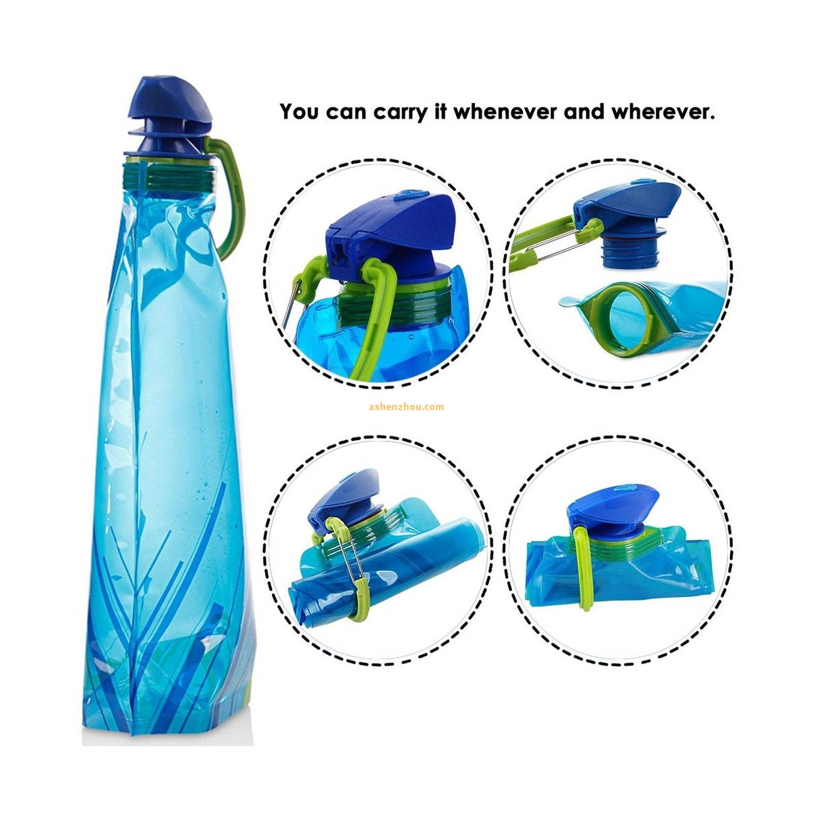 Outdoor sport easy-taking plastic folding water bottle with carabiner, collapsible water bottle with carabiner clip (500 ML) BPA Free