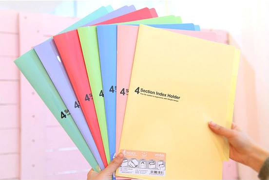 Hot sales good quality custom office stationery supplies A4 size pp plastic L shape file folders manufacturer