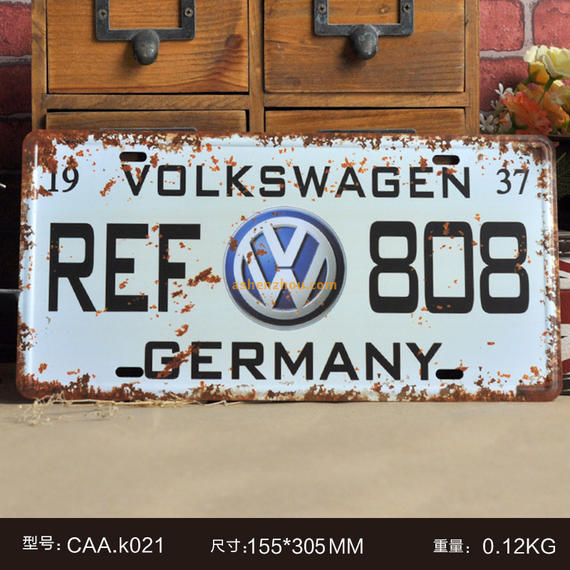 Made in China high quality custom design embossed tin car license plate vintage metal signs art