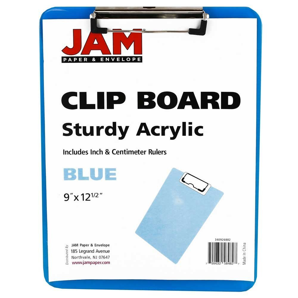 Top grade wholesale custom size clear acrylic plastic clipboard for school and office use, metall clips for clipboards