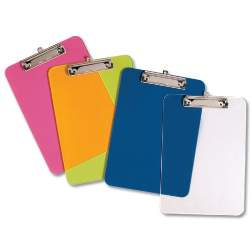 Factory direct promotional custom colorful double sides A4 A5 A6 FC size office PVC plastic clipboard with pen holder