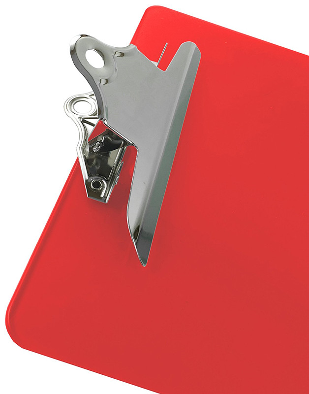 Good quality cheap custom A4 transparent plastic clipboard with low profile with assorted colors