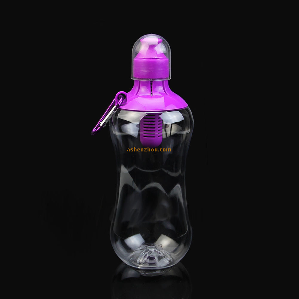 Water bobble water bottle with actived carbon filter for sports, camping