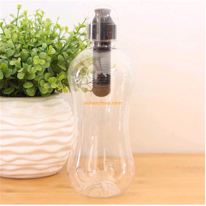 Bobble water bottle with carry tether cap, sport water drink purification bottle with lime filter BPA Free