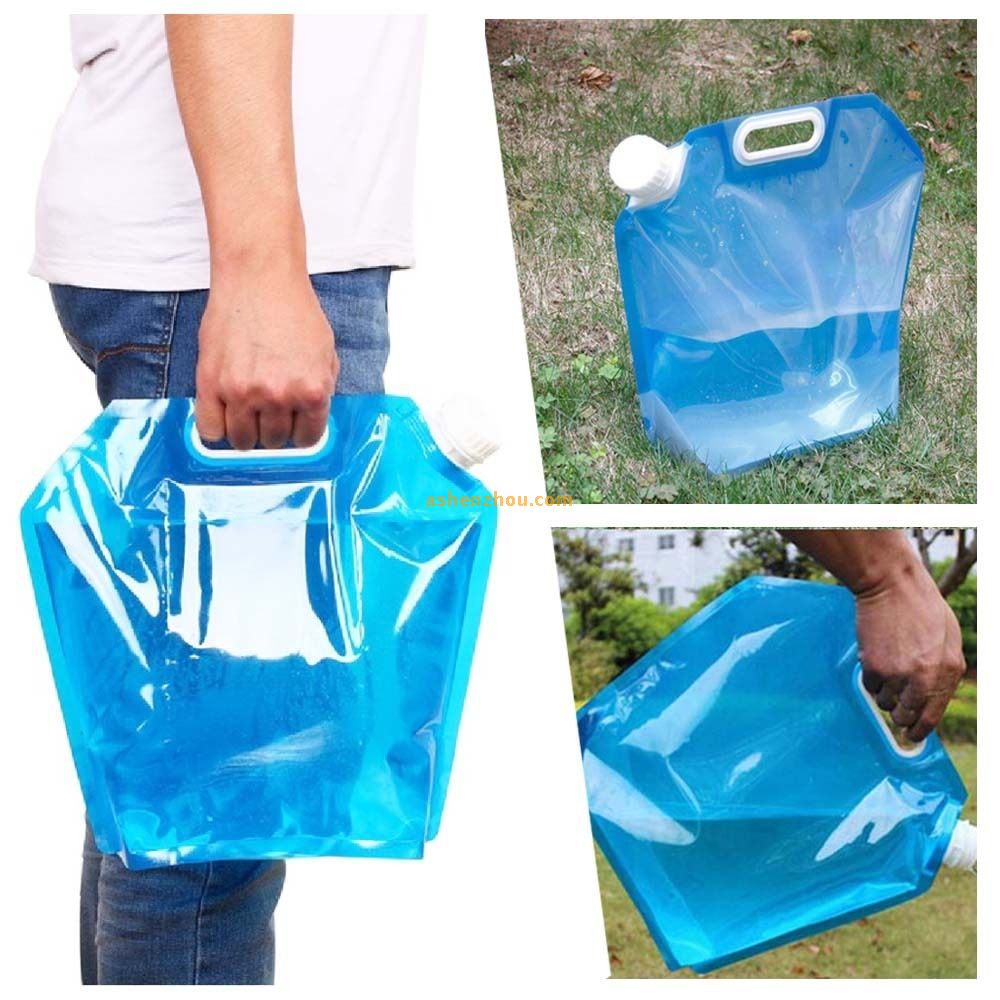 5L/10L High-capacity outdoor foldable folding collapsible drinking water bag car water carrier container for camping hiking picnic BBQ