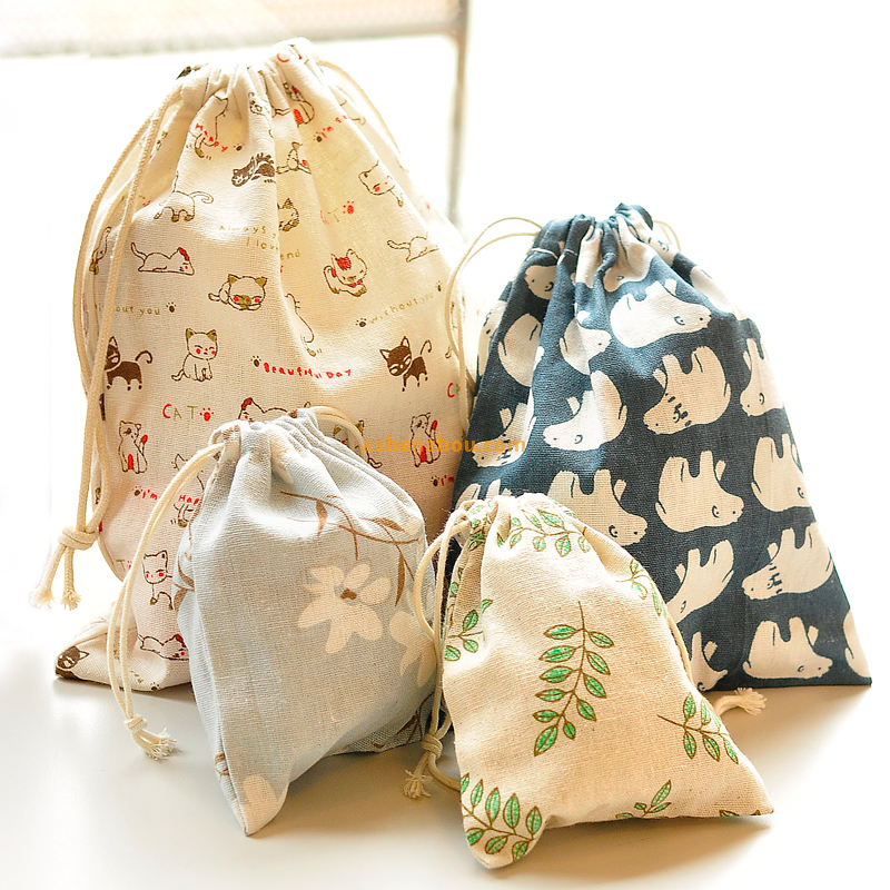 Fancy printed custom logo printing promotional colorful calico personalised small cotton muslin drawstring bags bulk
