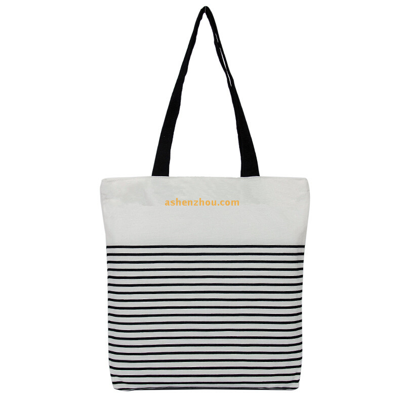 Promotional natural economy custom cross body print black and white striped tote bags cotton canvas personalised shoulder bags