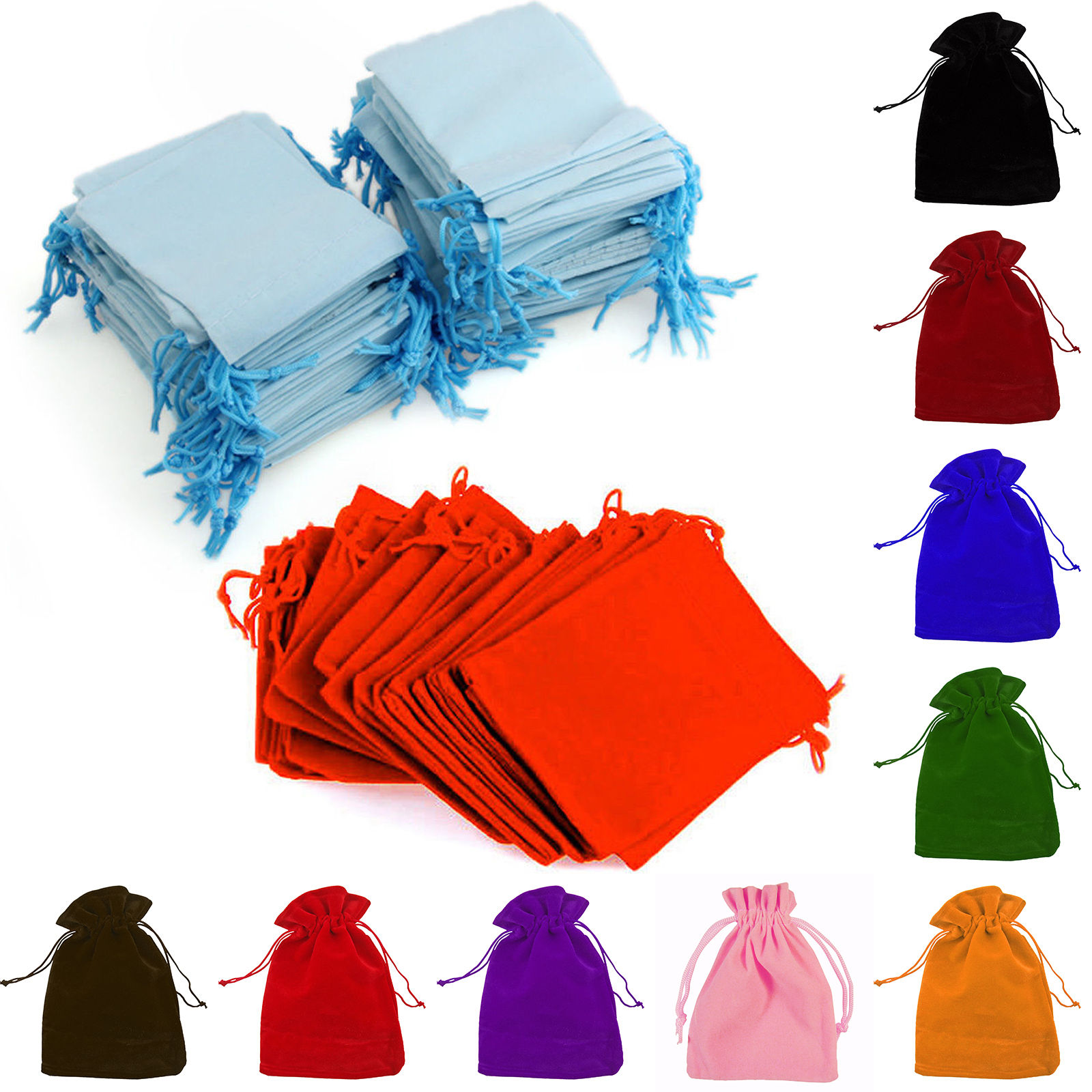 High end custom nice design velvet drawstring pouches bags gift velvet pouches lined cord box for jewelry