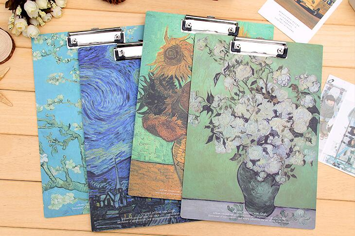 China supplier new fashionable popular custom colorful art painting by Van Gogh clipboard with metal clip and wooden board